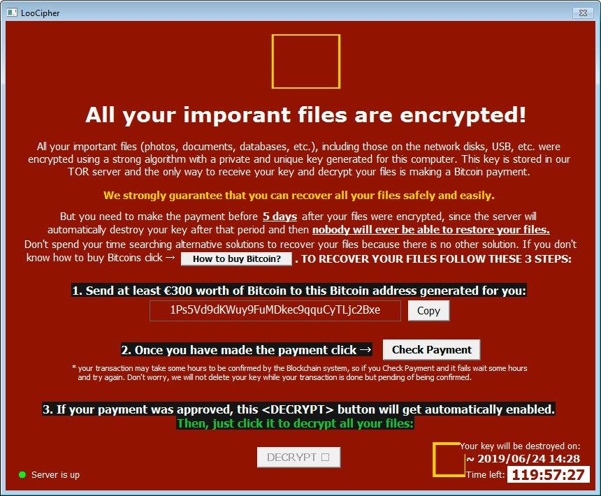 عرضه ابزار رمزگشایی برای قربانیان باجافزار LooCipher